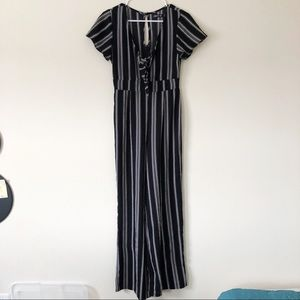 Black and White Striped Jumpsuit with Cap Sleeves